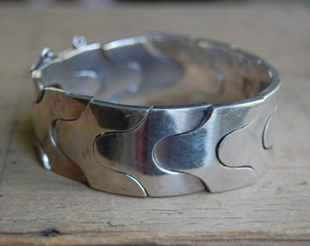 Modernist Mexican sterling silver puzzle bracelet ∙ signed RTA modernist Mexico snake bracelet