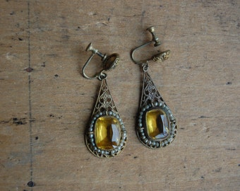 Antique Czech citrine glass seed pearl earrings