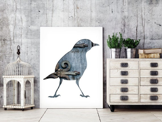 bird silhouette in blue and gray, blackbird art, 11x14 print, bir silhouette print, minimal animal art, urban decor, reclaimed wood decor