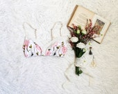 Anemone Pink and White Floral Soft Bra with Sheer Mesh Feminine Lingerie Handmade to Order Limited Edition