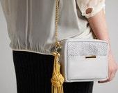 Leather Handbag Charm OPELLE Leather Tassel Bag Charm