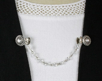 Swarovski Crystal Sweater Clip - Crystal and Silver Sweater Clip - Crystal Chain Chain Sweater Clip - Silver Sweater Clip