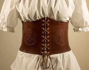 Borea Celtic Corset Belt in genuine leather and elastic band.