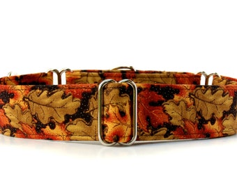 Fall Martingale Dog Collar,,, Autumn's Golden Oak Leaves Martingale Dog Collar in 1.5 inch or 2 inch width