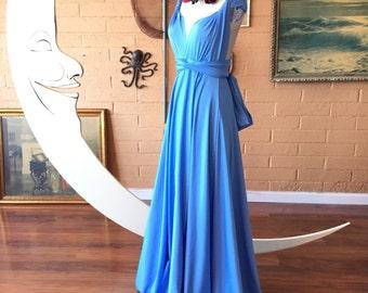 French Atlas Blue Octopus Infinity Wrap Dress~ Bridesmaids, Weddings, Maternity, Plus Size