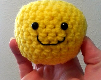 Happy Face Stress Ball, Yellow Crochet Ball, Smiley Face Plush Toy with Optional Hat, Crochet Desk Accessory, Office Decor