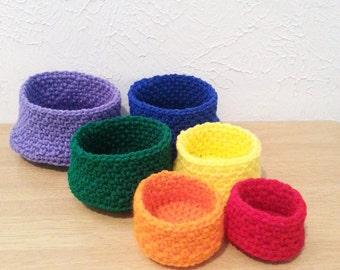 Rainbow Nesting Crochet Baskets, Learning Toys, Kids Room Decor, Teen Room Decor, Office Storage, Desk Organizers