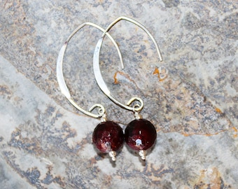 Garnet Earrings, Sterling Silver Earrings, Natural Stone Earring, Semi Precious Stone Jewelry, Burgundy Earring, Gemstone Earrings, Handmade