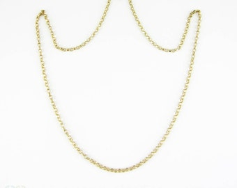 Vintage Belecher Gold Chain, Heavy Pendant Chain Necklace with Rounded Faceted Links. 46 cm / 18.1 inches, 4.65 grams, Circa 1970s.