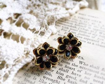 Night Bloom, Golden Framed Black Flowers with Clear Rhinestones Post Earrings by Hollywood Hillbilly