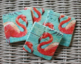 Flamingo Stone Coaster Set of 4 Tea Coffee Beer Coasters