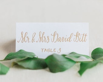 Wedding Calligraphy Only - Place Card Escort Card - Gold Modern Calligraphy - Calligraphy Only, Cards Not Included -  Manitou Springs Style