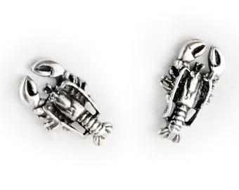 Lobster Sterling Silver Post Earrings