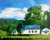 Landscape Painting, Original Acrylic Painting, Countryscape, 10 x20, Rural New York State scene, by artist Patty Fleckenstein, Jan 2016