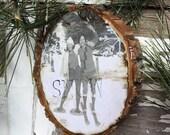 1920s Girls Day Out - Christmas Ornament - Wood Slice Oranament - Vintage Snowshoe - Vintage Ski - Ephemera - Gift Tag - Ski Gift