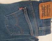 Vintage Levis Denim Jeans.  Levis Stretch Action Jeans. Vintage Blue Jeans.