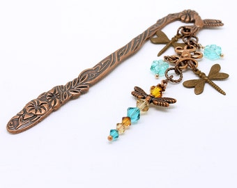 Dragonfly Gift Bookmark - Antique Copper Metal Book Mark w/ Flowers, Hummingbird, Topaz and Bright Turquoise Czech Glass and Crystal Beads