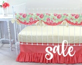 SALE* Coral Crib Bedding Baby Girl Bedding Bumperless crib set incl. Teething Rail Cover, sheet & coral crib skirt -LottieDaBaby Spring Sale