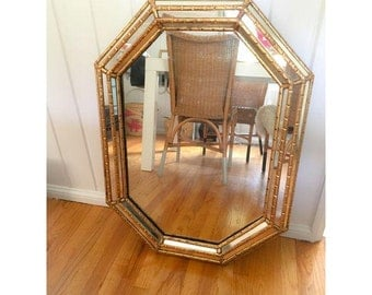 octagon mirror with faux bamboo gilt frame