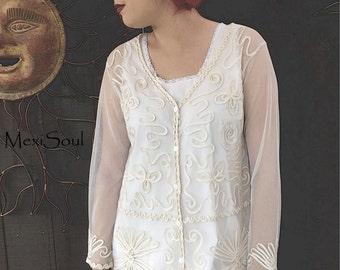 SALE, Tea Dyed Sheer Bridal Jacket, Bridal Wear, Antiqued Bridal Jacket, Romantic