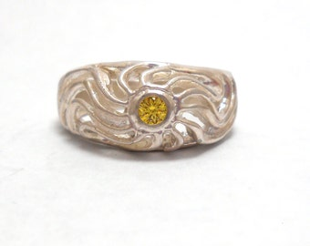 Sterling Silver Yellow Cubic Zirconia Ring