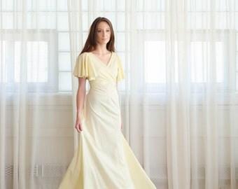 Vintage 1970s Jersey Gown - Long 70s Dress - Buttercream Dress