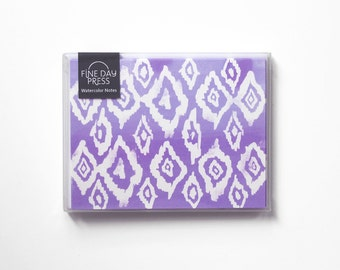 Note Cards, Thank You Notes, Note Card Set, Blank Note Cards, Watercolor Ikat Pattern Notes
