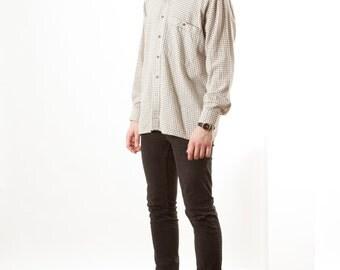 Beige Plaid Shirt / Long Sleeve Button Up / Oversized Mens Shirt