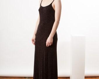 Black Maxi Dress / Straight Sleeveless Dress / Shimmery Long Dress