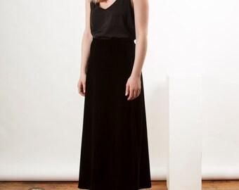 Black Velvet Skirt / Soft Maxi Skirt / Retro Chic Skirt