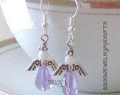 USA Lavender / Indigo Crystal Teardrop Angel Earrings with French Hooks