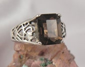 Smokey Quartz Heart Sterling Silver Ring