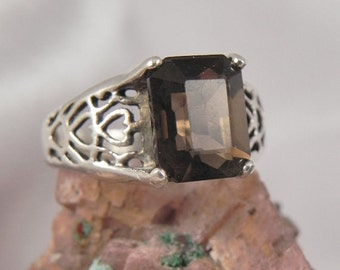 Smokey Quartz Heart Sterling Silver Ring