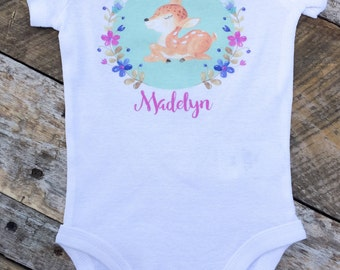 NEW Personalized Deer Onesie or Shirt, Custom Personalized Onesie, Singlet, Baby Deer Onesie, Boho Onesie, Woodland Onesie, Toddler Shirt
