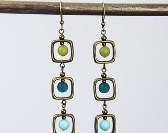 OUT OF TOWN - Peacock Palette Drop Dangle Earrings - Colorful Teal Olive Green Aqua Seafoam Antique Brass Square Long Beaded Boho Earrings