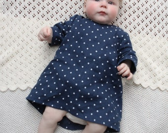Baby girl Linen dress Baby Girls clothes Baby linen dress Boho dress Girls linen clothing Toddlers dress A line dress Blue with white dots