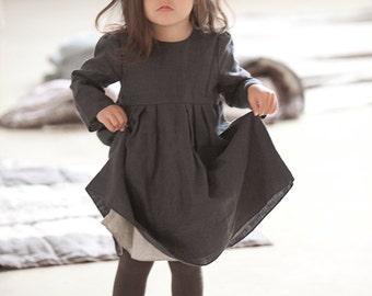 Linen dress Girls clothes Gray linen dress Boho dress Girls linen clothing Toddlers dress