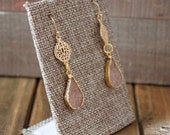 Light Beige Teardrop Druzy Filigree Gold Drop Earrings/ Light Beige Floral Filigree Drop Chandelier Dangle Natural Gemstone Stone (ECD21)