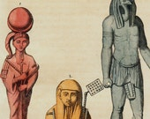 1823 Antique print of Egyptian sphinxes, Osiris ,Egyptian culture, fine hand colored engraving 193 years old
