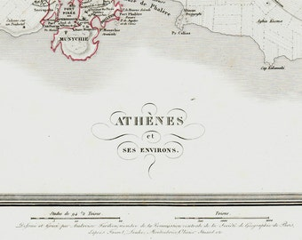 1830 ATHENS Antique map. historical map, The world as known to the ancient, Very fine. Original antique map + 150 years old