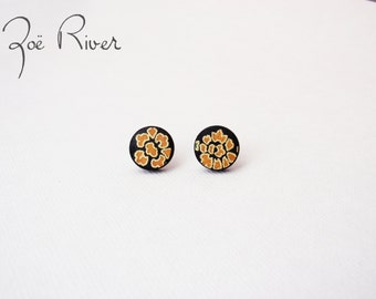 Black and mustard ochre lightweight post earrings - surgical steel, nickel free and lead free ear posts