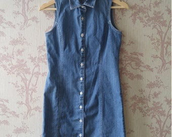 Vintage Old Navy denim button up dress sz XS