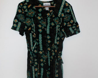 90s tribal batik print romper with side ties size M