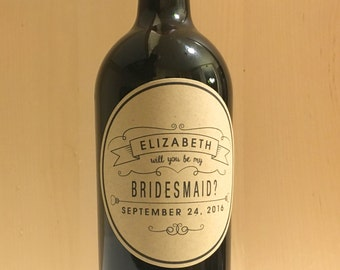Be My Bridesmaid Wine Label