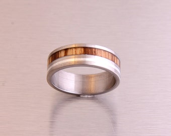 Titanium Ring Wood Ring Mens Wedding Band with zebra wood and silver inlay