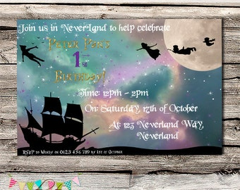 Neverland - Birthday Party, Baby Shower or Wedding Invitation - Printable - DIY - Digital File