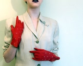 Vintage 1950s Gloves in Red Leather by Perrin / Vintage 50s Suede Gloves Oxblood Red White Embroidery France