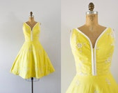 1960s Ray Of Sunshine cotton summer dress / 60s bright beauty