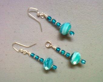 Light Aqua Blue Earrings and Pendant (0182)