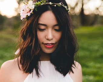 blossom and forest asymmetrical bridal wedding flower crown // Florette - multi-colour / bohemian floral headpiece flower crown
